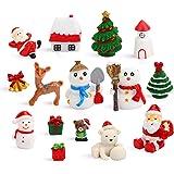 DIYASY Miniature Christmas Figurines,15 Pcs Crafts Resin Santa Claus Snowman Elk Xmas Tree Ornaments Kit for DIY Christmas Fa