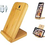 Bamboo Wireless Charger,Fast Wireless Charging Stand 10W Compatible with iPhone SE 2020/11/11 Pro/11 Pro Max/XS/XR/XS Max/8/8