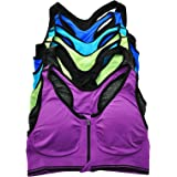 ToBeInStyle Women's 6 Pack Wirefree Seamless Sports Bra with Front-Zip Closure