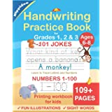 Handwriting Practice Book for Kids Ages 6-8: Printing workbook for Grades 1, 2 & 3, Learn to Trace Alphabet Letters and Numbe