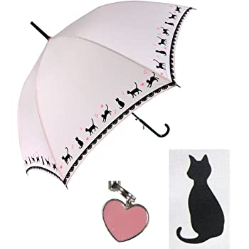 【無償修理対象】 黒ネコ裾柄 かわいい 60cm ジャンプ傘 (ピンク)