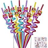 Reusable Dinosaur | Unicorn Straws - Plastic Drinking Straws for Dinosaur | Unicorn Themed Party Favors Birthday Party Decora