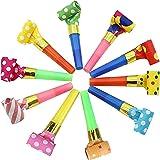 吹き戻し笛 カラフル 応援ホイッスル パーティー 誕生日 イベント 装飾 子供 おもちゃ パーティー小道具 10個セット (ランダムパターン)