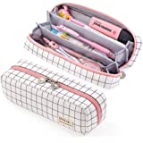 EASTHILL High Capacity 3 Compartments Pencil Case with Zipper Portable Big Storage Canvas Pencil Pouch for Girls Teens Studen