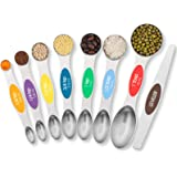 TEMEISI Magnetic Measuring Spoons Set, Dual Sided Stainless Steel Measuring Spoons Fits in Spice Jars, Stackable Teaspoon for