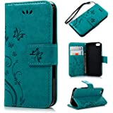 MOLLYCOOCLE iPhone SE 5S 5 Case Natural Luxury Blue Stand Wallet Purse Credit Card ID Holders Magnetic Design Flip Folio TPU