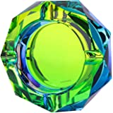 (Bling Bling 03) - Kufox Crystal Outdoors Indoors Cigarette Ashtray Ash Holder Case, Colourful Pattern Home Office Tabletop B