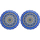 Arly Wipeable Hardboard Blue Trivets Mat for Heat Pot, Decor Cork Backed Insulation Pads with Mandala Style,Round 7.7 Inch Se