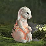 LA JOLIE MUSE Garden Statue - Mom & Baby Bunny with Solar LED Lights for Outdoor Indoor Decoration, Easter Festive Decor for