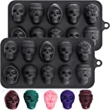 Webake Silicone Chocolate Molds Skull Candy Mold for Jelly Crayon Resin, Pack of 2 (Dia 1.7 inch)