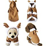 Yoption Puppy Dog Cat Christmas Reindeer Costumes, Funny Pet Cosplay Dress, Warm Fleece Hoodie Coat Clothes, Jumpsuit Outfit