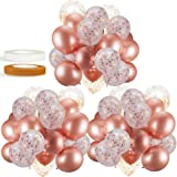 60 Pack Rose Gold Balloons + Confetti Balloons w/Ribbon | Rosegold Balloons for Parties | Bridal & Baby Shower Balloon Decora
