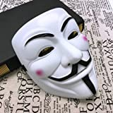Mcgranny V for Vendetta Anonymous Costume Mask Scary Halloween Cosplay Party Mask with Universal Size White
