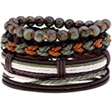 WAINIS 1-6 Pack Woven Braided Leather Bracelet for Men Women Hemp Cords Wood Beads Ethnic Tribal Cuff Wrist Bracelets Wrap Ad