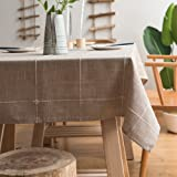 ColorBird Solid Embroidery Lattice Tablecloth Cotton Linen Dust-Proof Table Cover for Kitchen Dinning Tabletop Decoration (Re