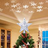 Christmas Tree Topper Lighted Star [Silver],3D Hollow Sparkling Star Christmas Tree Topper with Rotating Magic Cool White Sno