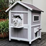 HiCaptain Outdoor Cat House Feral-Cat Shelter Escape Door Waterproof Insulated Two Story