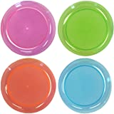 Party Essentials Hard Plastic 6-Inch Round Party/Dessert Plates, Assorted Neon, 40-Count