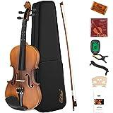 Eastar バイオリン 初心者セット 艶消し 指板マークチューナー 予備弦セット付きEVA-3 (4/4)