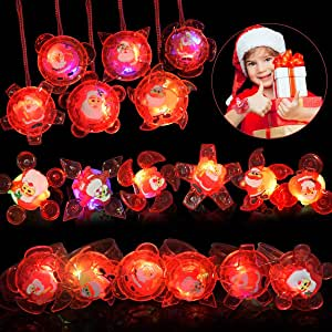 LEEHUR クリスマス LED光るブレスレット 指輪 ブレスレット ネックレス 18点豪華セット 回転可能 ハンドスピナー版 フラッシュ ピカピカ サンタ柄 Santa パーティーグッズ 子供景品 お祭り 子供会 縁日おもちゃ 誕生日 クリスマス 新年プレゼント