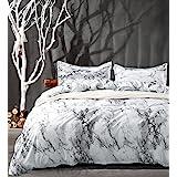 King Bedding Duvet Cover Set White Black Marble, 3 piece - 1000 -TC Luxury Hypoallergenic Microfiber Down Comforter Quilt Cov