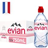 Evian Natural Mineral Water Sportcap, 750ml (Pack of 12)