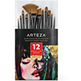 Arteza Paint Brushes, Set of 12, Premium Synthetic Acrylic & Oil Paint Brushes with Brass Ferrules & Wooden Birch Handles, Pa