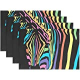 COOSUN Rainbow Zebra Placemats, Heat-Resistant Placemats Stain Resistant Anti-Skid Washable Polyester Table Mats Non Slip Eas