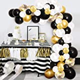 Black Gold Balloon Garland Kit, 120Pcs White Gold Confetti and Metallic Chrome Latex Balloons with Gold Tinsel Curtain for We