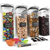 Cereal Container Storage Set - Airtight Food Storage Containers, 8 Labels, Spoon Set & Pen, Great for Flour - BPA-Free Dispen