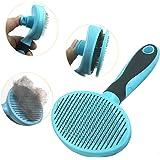 Hesiry Cat Brush Dog Soft Brush for Shedding Removes Loose Undercoat,Slicker Brush for Dog Massage-Self Cleaning Blue