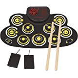 Electronic Drum Set Electronic Roll Up Practice Drum Pad Portable Drum Kit with Built in Speakers Foot Pedals,Drum Sticks,13H