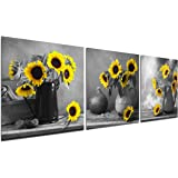 Sunflower Decor Wall Art Prints - Floral Vase with Flowers Painting Bedroom Black White Poster Bouquet Home Office Modern Dec