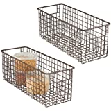 mDesign Tall Wire Storage Basket for Kitchen Pantry Cabinet - Pack of 2 Bronze