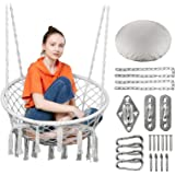 Greenstell Hammock Chair Macrame Swing with Hanging Kits Hanging Cotton Rope Swing Chair Comfortable Sturdy Hanging Chairs fo