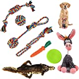 Dog Toys Gift pack - Contain Puppies Teething Chew Cotton Rope & Squeaky Plush Toys Suitable for Small Medium Dog Training an