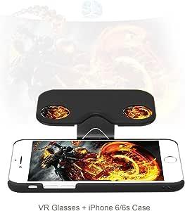 Telmu 3DVR ゴーグル 3D VRメガネ 3D VR眼鏡 スマホケース iPhoneケース一体型 ゲーム/映画体験 超3D映像効果 折り畳み式 iPhone6/6s専用 4.7インチ対応