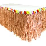 GiftExpress 9 feet X29 Luau Grass Table Skirt, Hawaiian Luau Libiscus Table Skirt for Hawaiian Party, Luau Party Supplies, Lu