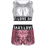 KKmeter Kids Girls 2pcs Dance Outfit Racer Back Crop Top with Shorts Clothing Sets for Sport Gymnastic Dancing Swimming