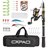CAPACI Portable Telescopic Fishing Rod and Reel Combos Carbon Fiber Fishing Pole with Full Kits Carrier Bag for Travel Saltwa