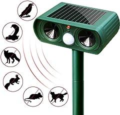 ANBURT 動物撃退器 2018改良版 猫よけ 鳥よけ 犬よけ 人道的な方法で害獣撃退 ソーラー充電式 省エネ IPX4防水防塵 庭園保護 空き巣対策 キャンプ場にも利用可能