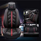 SOGLOTY Auto Car Seat Covers Full Set, Sporty Universal Fit 5 Seats with Airbag Compatible, Waterproof PU Leather Car Seat Cu
