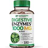 Digestive Enzymes 1000MG Plus Prebiotics & Probiotics Supplement, 180 Capsules, Organic Plant-Based Vegan Formula for Better