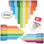 Washi Tape Set 30 Rolls, Colorful Decorative Washi Masking Tape Collection for DIY Scrapbooking Craft Gift Wrapping Tapes