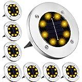 8 Pieces Solar Lights Outdoor Garden, Outdoor LED Solar Garden Lights, 8 LED Warm White Solar Pathway Lights Outdoor, IP65 Wa