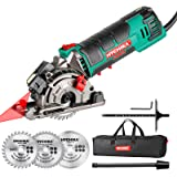 """Mini Circular Saw, HYCHIKA Compact Circular Saw Tile Saw with 3 Saw Blades 4A Pure Copper Motor, 3-3/8""""4500RPM Ideal for Wood"""