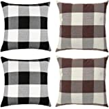 WiliW 4 Pack Pillow Covers 18 X 18 inch,Decorative Cushion Black-White Brown-White Square Throw Pillow Case Classic Retro Buf