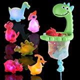 IPIGGO Light Up Floating Dinosaurs Bath Toy, Set of 7 Bathtub Toys with Drawstring Hoop and Suction Cup, Silicone Floating Sq