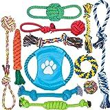 12 個 犬ロープおもちゃ 犬おもちゃ 犬用玩具 噛むおもちゃ ペット用 コットン ストレス解消 セット 丈夫 耐久性 清潔 歯磨き 小/中型犬に適用