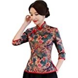 Shanghai Story Faux Silk Cheongsam Top Qipao Shirt Chinese Blouse with Black Linen Skirt